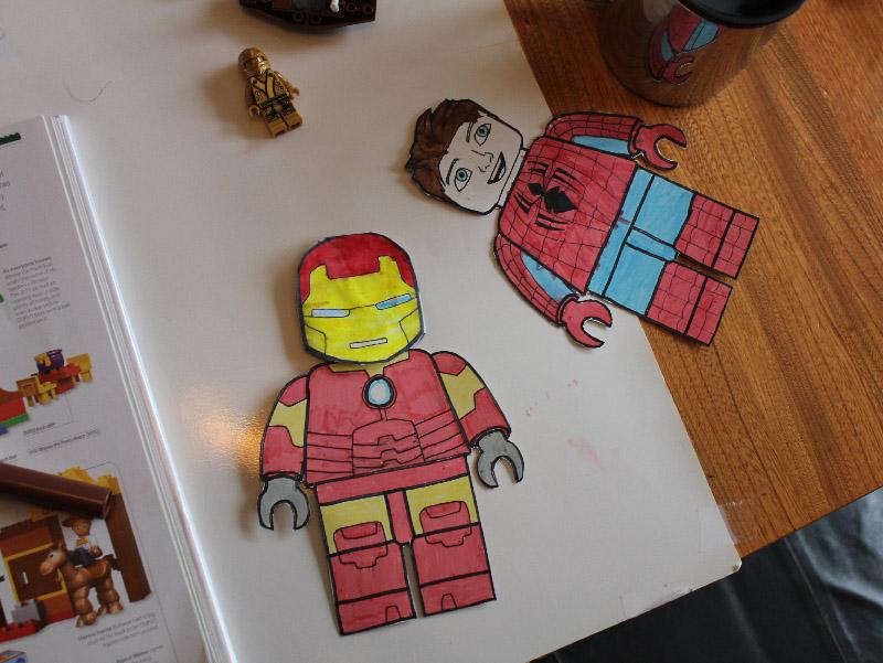 superhero lego paper dolls - finger thumb